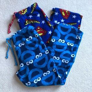 Fleece Cookie Monster & Superman Pajama Pants M